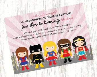 Super girl Birthday Invitation