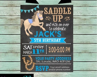 Western Horse Riding Pony Cowboy Birthday Party Invitations Invites With our Without Photo Personalized Custom
