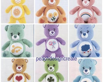 Crochet pattern, Care Bears, 10 cute carebears, pdf, instant download, digital download