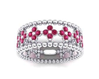 Clover Ring, Clover Ruby Ring, Bead Ring, Clover Ruby Bead Ring, Clover Bead Ring, Ruby Ring, Wedding Ring, Gift