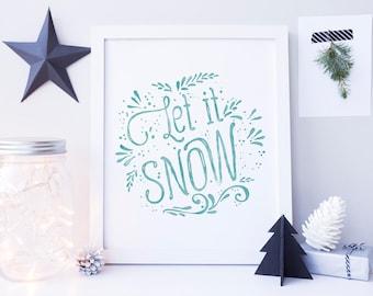 Festive Home Decor, Let it Snow Sign, Christmas Printable, Christmas Decor, Christmas Decoration, Christmas Home Decor, Holiday Decoration