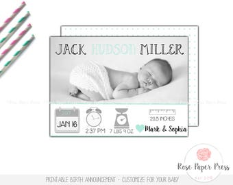 Birth Announcement, Icons | Custom Card | Baby Announcement, Printable Birth Announcement, Modern, Baby Girl, Baby Boy, Newborn Announcement
