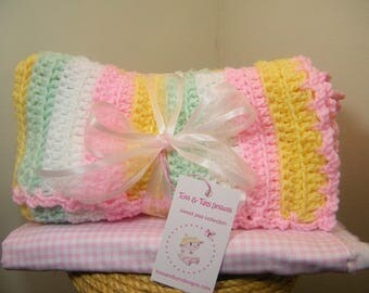 knit/crochet baby blanket multi color/FREE knit baby hat with the purchase of a baby blanket