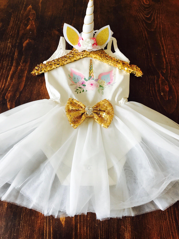 baby girl first 1st birthday outfit tutu cake smash photo unicorn dress party