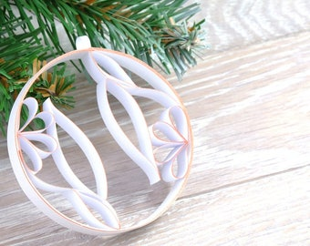 Paper Christmas tree decoration, Christmas symmetrical flowers, elegant decoration, quilling, personalized Christmas tree ball