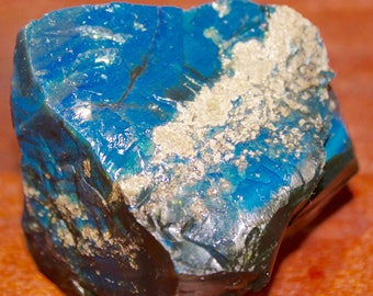 Electric Blue Green Obsidian Volcanic Glass Prism