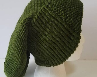 Forest Green Long Slouchy Hat