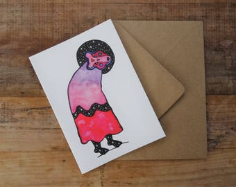 WHIMSICAL BIRTHDAY CARD ~ Free Postage to Uk ~ Magical Watercolour Greetings Card ~ Spiritual Birthday Card ~ Animal Lover Card ~ Witch Art