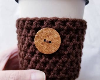 Raw Wood Button Dark Chocolate Crochet Cup Sleeve - Neutrals Button Everyday Cup Sleeve