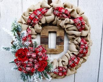Christmas Wreath - Holiday Wreath - Burlap Wreath