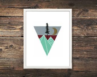 Geometric Nature Boho Print, Mountain Art, Sun Moon Art, Geometric Mountains, Triangle Art, Geometric Painting, Geometric Shapes, Boho