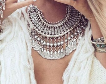 Collier boho Antioche en argent ////// Bohème gypsy ethnique necklace