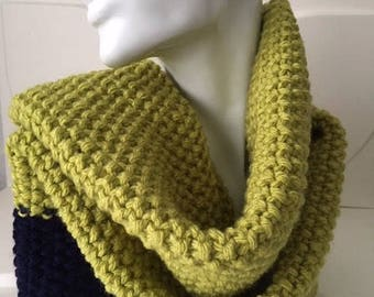 Lime and Navy Blue Winter Hand Knit Scarf