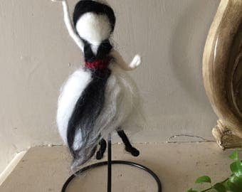 Black and white dancer style wardolf with holder