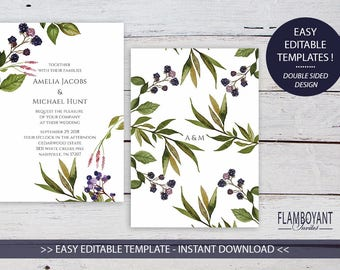 AUTUMN BERRY Invitation - Printable - Watercolour Berries & Branches - Editable Templates - Instant Download by Flamboyant Invites