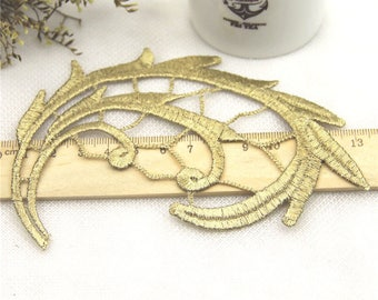 1 Pair Gold Embroidery Leaf Lace Applique DIY Trim Appliques Patch Clothing   Accessories, WL638