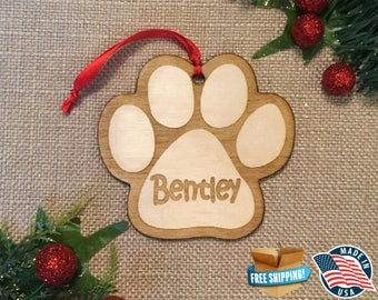 Paw Print Christmas Ornament *** Personalized Dog Ornament  ***Dog Lover Gift *** Christmas Holiday Ornament *** New Puppy