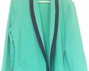 Bright green 1980's Jacques Vert open blazer jacket (M/L)