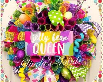 READY to SHIP! Easter Wreath,  Easter Mesh Wreath,  Jelly Bean Queen Wreath, Jelly Bean Wreath, Easter Decor, Spring Wreath