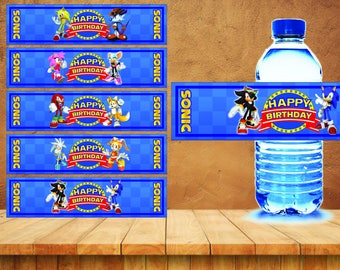 Sonic Water Labels, Sonic Labels or Stickers, Sonic Party Printables - INSTANT DOWNLOAD