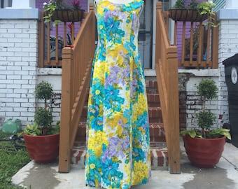 Vintage Handmade Corduory Floral Maxi Dress