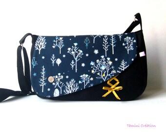 Sac besace, sac à main femme tissu bleu marine Magic Tree