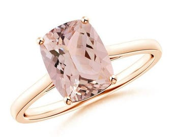 Peach pink cushion sapphire 14k rose gold engagement ring ,Rose gold peach sapphire engagement ring ,Peach Pink Sapphire Ring