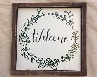 Welcome Rustic Wood Sign, farmhouse, country, welcome sign, shabby chic, wall decor