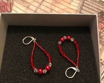 Red Tear Shape Earrings
