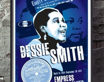 Bessie Smith. Empress of the blues unframed poster. Vintage aesthetic. Specially created. Wall decor art print.
