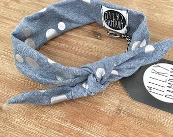 Baby bandana blue melange with Silver metallic print