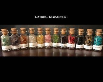 Twelve Mini Glass Bottles of Natural Gemstones