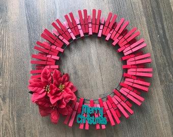 Red Poinsettia Clothespin Wreath