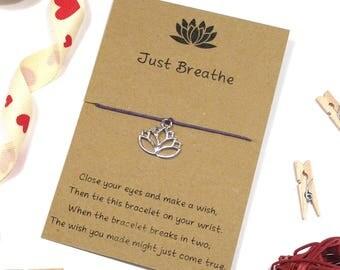 just breathe lotus wish bracelet, friendship bracelet, cord bracelet, yoga bracelet, motivational bracelet, string bracelet, gift for her