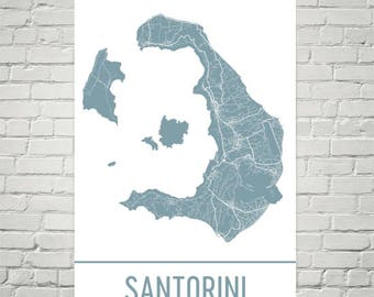 Santorini Map, Santorini Art, Santorini Print, Santorini Greece Poster, Greek Gifts, Map of Greece, Greece Poster, Santorini Honeymoon