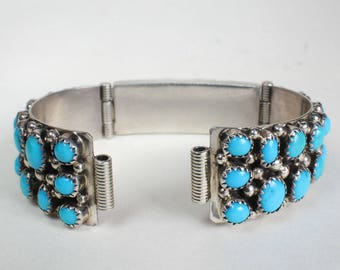 Sterling Silver Turquoise Watch Band Cuff Bracelet Talisman Band Navajo Indian Native American Southwest
