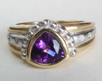 14k Gold Ring Amethyst Yellow White Gold Diamond Gift for Her February Birthstone Birthday Trillion Cut