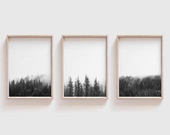 Set of 3 Prints| Woodland Print Set| Woodland Home Decor| Printable Wall Art| Minimalist Posters| Mid Century Modern Wall Decor