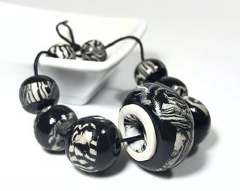 Handmade Black And White Polymer Clay Beads, Black And White Zebra Striped Round Bead Set, Black And White Big Rondelle Bead, Ethnic Bead,