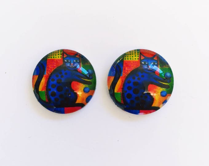 The 'Cool Cat' Glass Earring Studs
