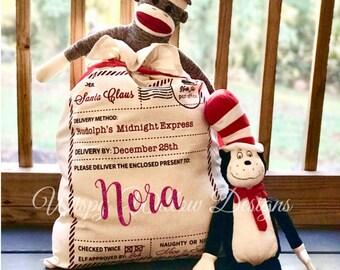 Santa Sack with Name, Santa Claus Bag, Santa Sacks, Santa Bags, Christmas Gift Bag, Canvas Bag, Personalized Christmas, Santa Name Bag
