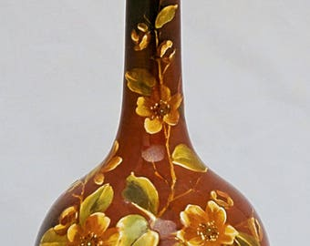 WARDLE IMPASTO Victorian Teck - ware Hand painted pottery solifleur long necked British Art Pottery Faience vase
