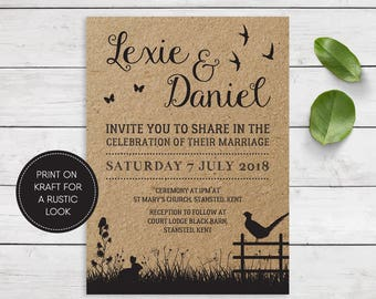 Printable Wedding Invitation/ RSVP/ Save the date/ Thankyou card/ PDF/ Download/ Custom/ Rustic/ Lexie suite #031