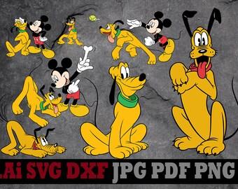 Dog Pluto svg, Pluto clipart, Disney svg files silhouette digital files svg dxf png Ai pdf svg files for cricut