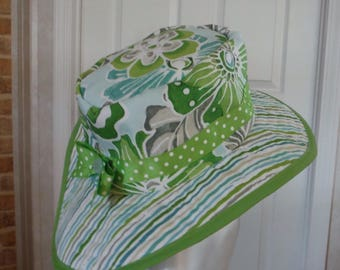 Limey Stripes & Flowers Sunhat