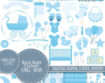 Baby Boy Clipart Set, 31 PNGs, 5 Baby Boy Digital Paper JPGs, Commercial Use, New baby clipart, baby shower clipart blue it's a boy clip art