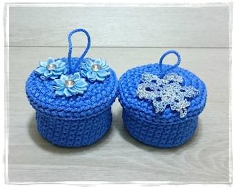 BLUE MINI BASKET, Rope Basket with lid, Toy storage sack, Bathroom decor, Crochet basket box, Flower Girl Box, Jewelry Basket, Crochet Bowl