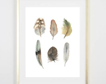 Feather Watercolor Print / Painting / Gifts for her / Home Decor / Gifts for mom / Farm Decor/ Farmhouse art / house warming gift