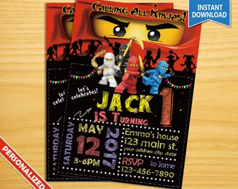 Ninjago Invitation, Ninjago Birthday Party, Ninjago Party Invitation, Nonjago Birthday Invitation, Ninja Party, Ninja Invitation
