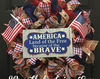 Patriotic Wreath, America Wreath, 4th of July wreath, summer wreath, front door wreath, USA wreath